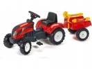 Šlapací traktor Ranch Trac s vlečkou červený