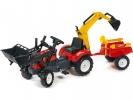 Šlapací traktor Ranch Trac s nakladačem, vlečkou, rypadlem červe