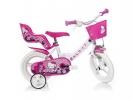"""Dětské kolo 12"""" Hello Kitty se sedačkou pro panenku a košíkem"""