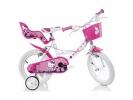 """Dětské kolo 14"""" Hello Kitty se sedačkou pro panenku a košíkem"""
