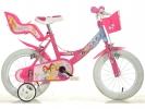 """Dětské kolo 14"""" Princess se sedačkou pro panenku a košíkem"""