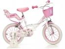 """Dětské kolo 16"""" Hello Kitty se sedačkou pro panenku a košíkem"""