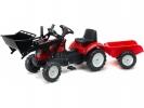 Šlapací traktor Ranch Trac s nakladačem a vlečkou červený