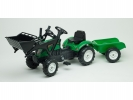 Šlapací traktor Ranch Trac s nakladačem a vlečkou zelený